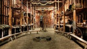 Native Indian Hut. Native Indian ceremonial hut in Lake Crawford, Ontario stock photo