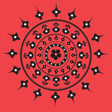 Native indian ornament, mandala. Red-white-black colored native indian ornament (mandala Royalty Free Stock Photography