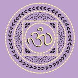 Native indian ornament with Om. Stock Image