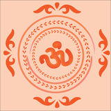 Native Indian Ornament With Om. Stock Photos