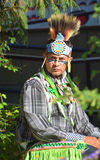 Native Indian people. VICTORIA BC CANADA JUNE 24 2015: Native Indian people in traditional costume. First Nations in BC constitute a large number of First stock images