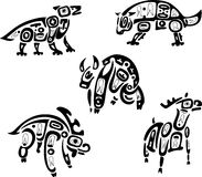 Native indian shoshone tribal drawings. Animals Royalty Free Stock Photos