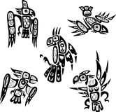 Native indian shoshone tribal drawings. Birds Royalty Free Stock Images