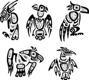 Native indian shoshone tribal drawings. Eagles Stock Photo