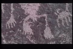 Native Indian structures and petroglyphs, Petrified Forest National Park stock video