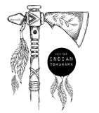 Native Indian tomahawk. Indian weapon. Hand draw vector illustration Stock Images