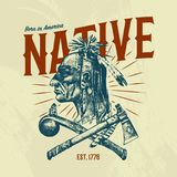 Native Indian traditions T-shirt. National American dreamcatcher. Knife and Ax, tools and instruments. engraved hand stock illustration