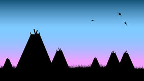 Native indian village and tents. Vector illustration as silhouette of native indians of america village with tents Royalty Free Stock Image