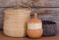 Native Indian weaving baskets gourd on shelf Stock Image