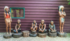 Native Indian wood carving in Capilano park, Vancuover Royalty Free Stock Images