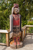 Native Indian wood carving in Capilano park, Vancuover Royalty Free Stock Image