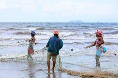 Native Malagasy fishermen fishing on sea, Madagascar Stock Images