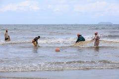 Native Malagasy fishermen fishing on sea, Madagascar Stock Photos