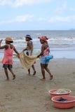 Native Malagasy fishermen fishing on sea, Madagascar Royalty Free Stock Photography