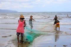 Native Malagasy fishermen fishing on sea, Madagascar Stock Image
