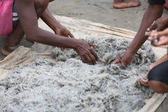 Native Malagasy fishermen fishing on sea, Madagascar Stock Photo