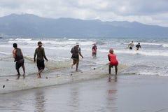 Native Malagasy fishermen fishing on sea, Madagascar Royalty Free Stock Images
