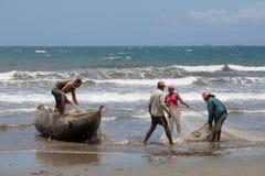 Native Malagasy fishermen fishing on sea, Madagascar Royalty Free Stock Photo