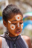 Native Malagasy Sakalava ethnic girls, beauties with decorated face Royalty Free Stock Images