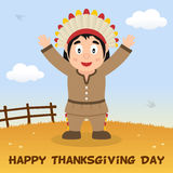 Native Man Happy Thanksgiving Card Stock Image