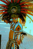 Native Mexican Mayan Costume Player Stock Image