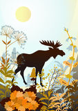 Native Nature. A silhouette of an elk, prairie grasses and flowers on a blue background Royalty Free Stock Image