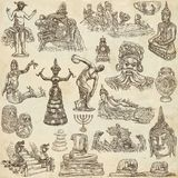 Native and old art - hand drawn collection on old paper Royalty Free Stock Photography