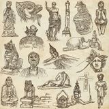 Native and old art - hand drawn collection on old paper Royalty Free Stock Photos