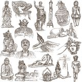 Native and old art - hand drawn collection on white, isolated Stock Images