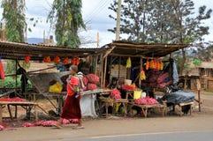 Native people made affairs. ARUSHA, TANZANIA - NOVEMBER 25: Native people made affairs near main road on November 25, 2011 in Arusha, Tanzania. Arusha is a city royalty free stock image