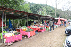 The native people sell their products in the local market at Doi Inthanon , Chiang Mai ,Thailand Stock Photography