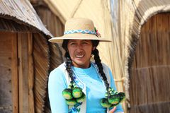 Native People at Uros Floating Islands in Lake Titicaca. Peru. South America stock image