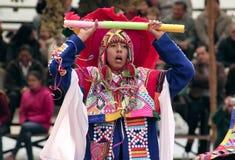 Native Peruvian boy dancing the `Wayna Raimi`. Cusco, Peru - Circa June 2013: Native Peruvian boy dancing the `Wayna Raimi` traditional dance with colorful royalty free stock photos