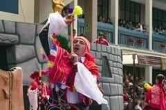 Native Peruvian boy dancing the `Wayna Raimi`. Cusco, Peru - Circa June 2013: Native Peruvian boy dancing the `Wayna Raimi` traditional dance with colorful royalty free stock photography