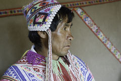Native Peruvian man wearing handwoven poncho Royalty Free Stock Photography