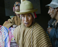 Native Peruvian man wearing typical andean robe Royalty Free Stock Photography