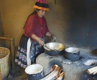 Native Peruvian woman preparing Cachangas aka fried bread Royalty Free Stock Image