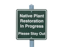 Native Plant Restoration Sign Isolated Stock Photography