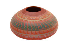 Native Pottery. Isolated pottery with native tribal design Stock Photos