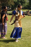 Native Powwow Editorial Image Series. SMITHS FALLS, ON, JUNE 10, 2017 EDITORIAL IMAGE SERIES OF NATIVES POWWOW CEREMONY with this image focused on a couple Royalty Free Stock Photos