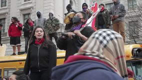 Native Protestors at Standing Rock March in DC 03-10-17. Native Protestors at Standing Rock March in DC  hd stock video