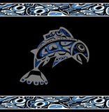 Native salmon Vector. Fish in blue on black background with native ornaments Royalty Free Stock Images