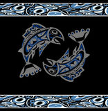 Native salmon Vector. Fish in blue on black background with native ornaments Royalty Free Stock Photo
