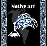 Native salmon Vector. Fish in blue on black background with native ornaments and north america Stock Photo