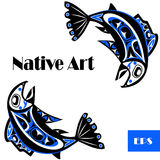 Native salmon Vector. Fish in blue on white background Royalty Free Stock Photos