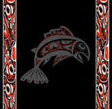 Native salmon Vector. Fish in red on black background with native ornaments Stock Images
