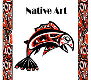 Native salmon Vector. Fish in red on white background with native ornaments Stock Photography