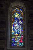Native Scene Stained Glass Window, Galway Stock Photos