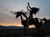 Native Sculpture at sunset stock photo