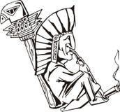 Native shaman smoking tobacco-pipe Royalty Free Stock Photos